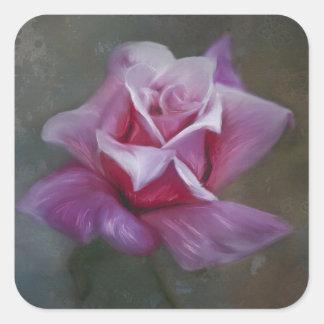 Arte color de rosa rosado - pintura floral pegatina cuadrada
