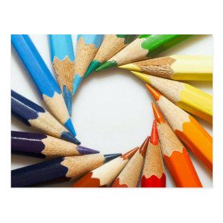 Arte coloreado del círculo del lápiz postales