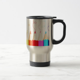 Arte coloreado del lápiz taza de viaje de acero inoxidable
