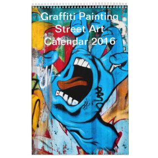 Arte colorido 2016 de la calle de la pintura de la calendario