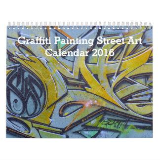 Arte colorido 2016 de la calle de la pintura de la calendarios de pared