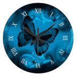 arte colorido azul del vector de la mariposa relojes de pared