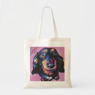 arte colorido brillante del perro del estallido bolsa lienzo