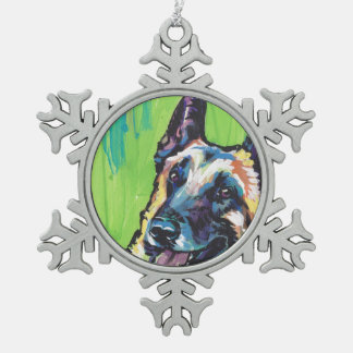 Arte colorido brillante del perro del estallido de adorno de peltre en forma de copo de nieve