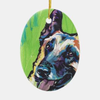 Arte colorido brillante del perro del estallido de adorno navideño ovalado de cerámica