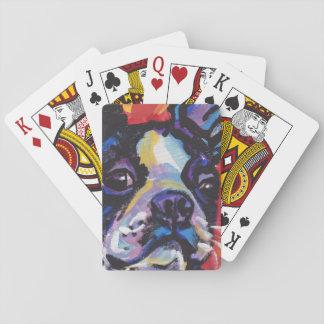 Arte colorido brillante del perro del estallido de barajas de cartas