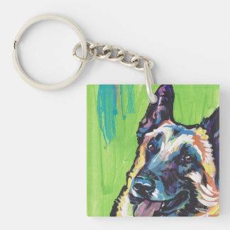 Arte colorido brillante del perro del estallido de llavero cuadrado acrílico a doble cara