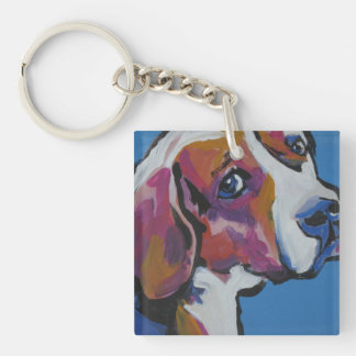 Arte colorido brillante del perro del estallido llavero cuadrado acrílico a doble cara