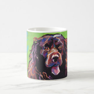 Arte colorido brillante del perro del estallido taza básica blanca
