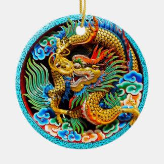 Arte colorido chino fresco de la flor de loto del adorno navideño redondo de cerámica