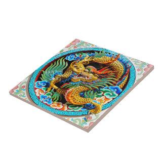 Arte colorido chino fresco de la flor de loto del  azulejo