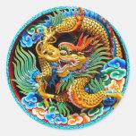 Arte colorido chino fresco de la flor de loto del etiquetas redondas