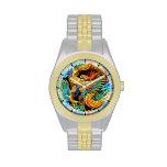 Arte colorido chino fresco de la flor de loto del  relojes de mano