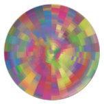 Arte colorido de Digitaces de la rueda del pixel Plato Para Fiesta