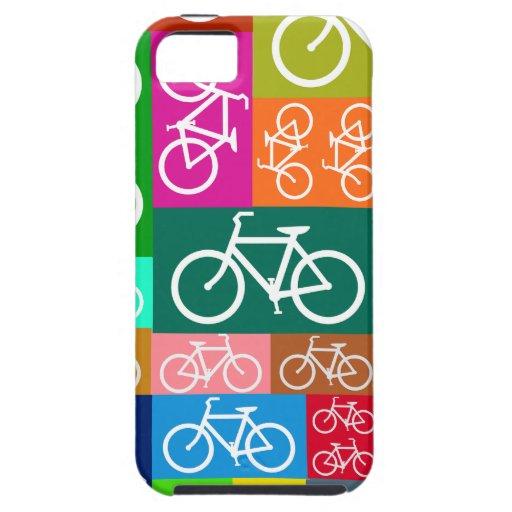 Arte colorido de la bicicleta del remiendo iPhone 5 fundas
