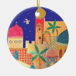 Arte colorido de la ciudad de Jerusalén Adorno Navideño Redondo De Cerámica