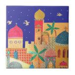 Arte colorido de la ciudad de Jerusalén Azulejo Cuadrado Pequeño