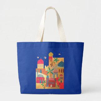 Arte colorido de la ciudad de Jerusalén Bolsa De Tela Grande