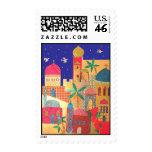 Arte colorido de la ciudad de Jerusalén Franqueo