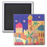 Arte colorido de la ciudad de Jerusalén Imanes Para Frigoríficos