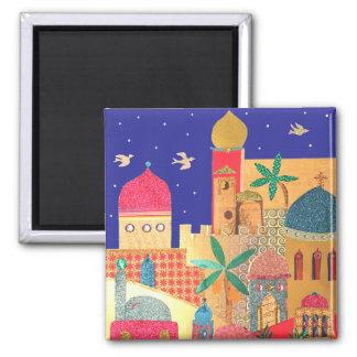 Arte colorido de la ciudad de Jerusalén Imán Cuadrado