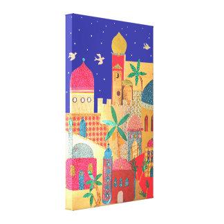 Arte colorido de la ciudad de Jerusalén Lienzo Envuelto Para Galerías
