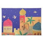 Arte colorido de la ciudad de Jerusalén Mantel