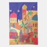 Arte colorido de la ciudad de Jerusalén Toalla De Cocina