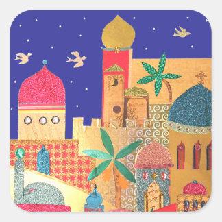 Arte colorido de la ciudad de Jerusalén Pegatina Cuadrada