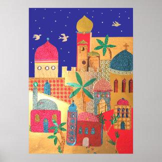 Arte colorido de la ciudad de Jerusalén Póster