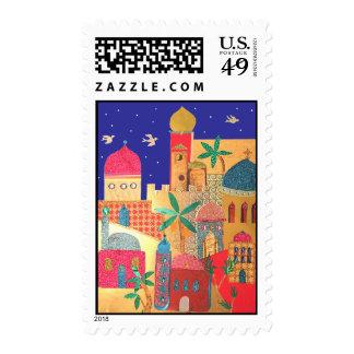 Arte colorido de la ciudad de Jerusalén Sellos Postales