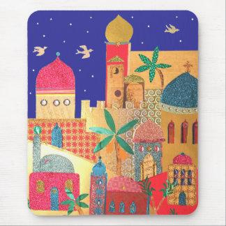 Arte colorido de la ciudad de Jerusalén Tapetes De Ratón