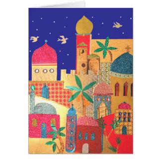 Arte colorido de la ciudad de Jerusalén Tarjeta De Felicitación