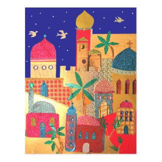 Arte colorido de la ciudad de Jerusalén Postal