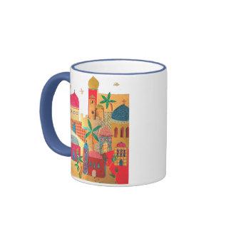 Arte colorido de la ciudad de Jerusalén Taza A Dos Colores