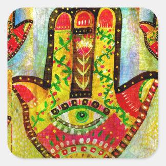 Arte colorido de la mano de Hamsa Pegatina Cuadrada
