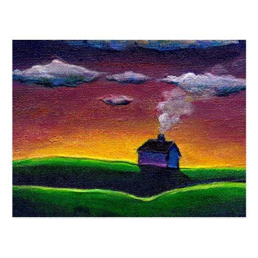 Arte colorido de la original de la pintura de pais postales