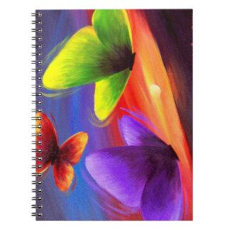 Arte colorido de la pintura de la mariposa de los libreta
