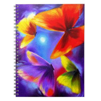 Arte colorido de la pintura de la mariposa de los spiral notebooks