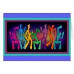 Arte colorido de los bailarines tarjeton