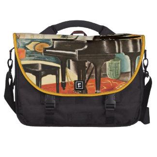 Arte colorido del anuncio del instrumento del pian bolsas para ordenador