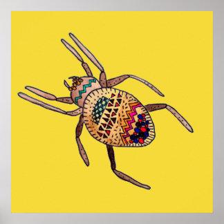 Arte colorido del arácnido de Zentangle de la Impresiones