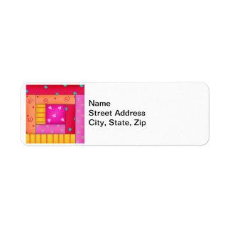 Arte colorido del bloque del edredón de remiendo etiqueta de remitente