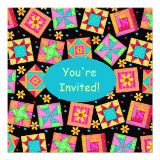Arte colorido del bloque del edredón de remiendo invitaciones personalizada