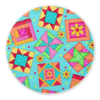 Arte colorido del bloque del remiendo del edredón pomo de cerámica