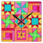 Arte colorido del bloque del remiendo del edredón reloj