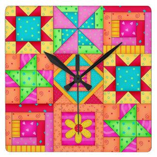 Arte colorido del bloque del remiendo del edredón reloj cuadrado