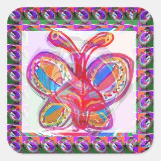 Arte colorido del bosquejo de la MARIPOSA Pegatina Cuadrada