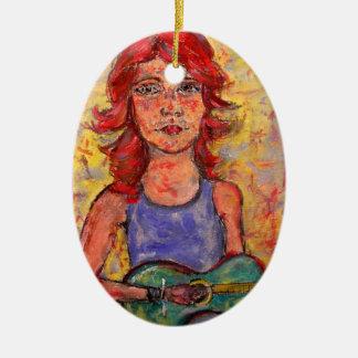 arte colorido del chica de la guitarra ornamente de reyes