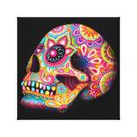 Arte colorido del cráneo del azúcar lienzo envuelto para galerías